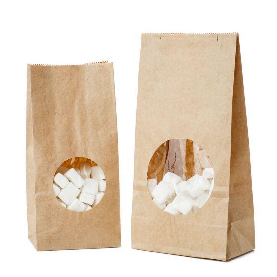 Popieriniai maišeliai su blokiniu dugnu ir langeliu